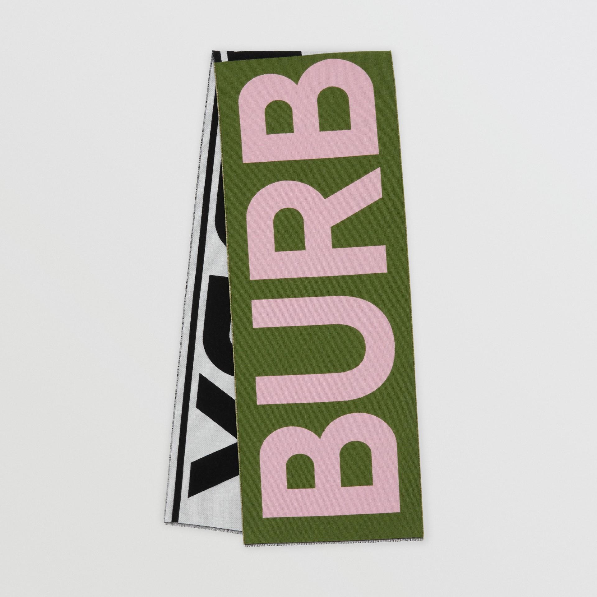 Logo Wool Silk Jacquard Scarf in Cedar Green | Burberry United Kingdom - gallery image 0