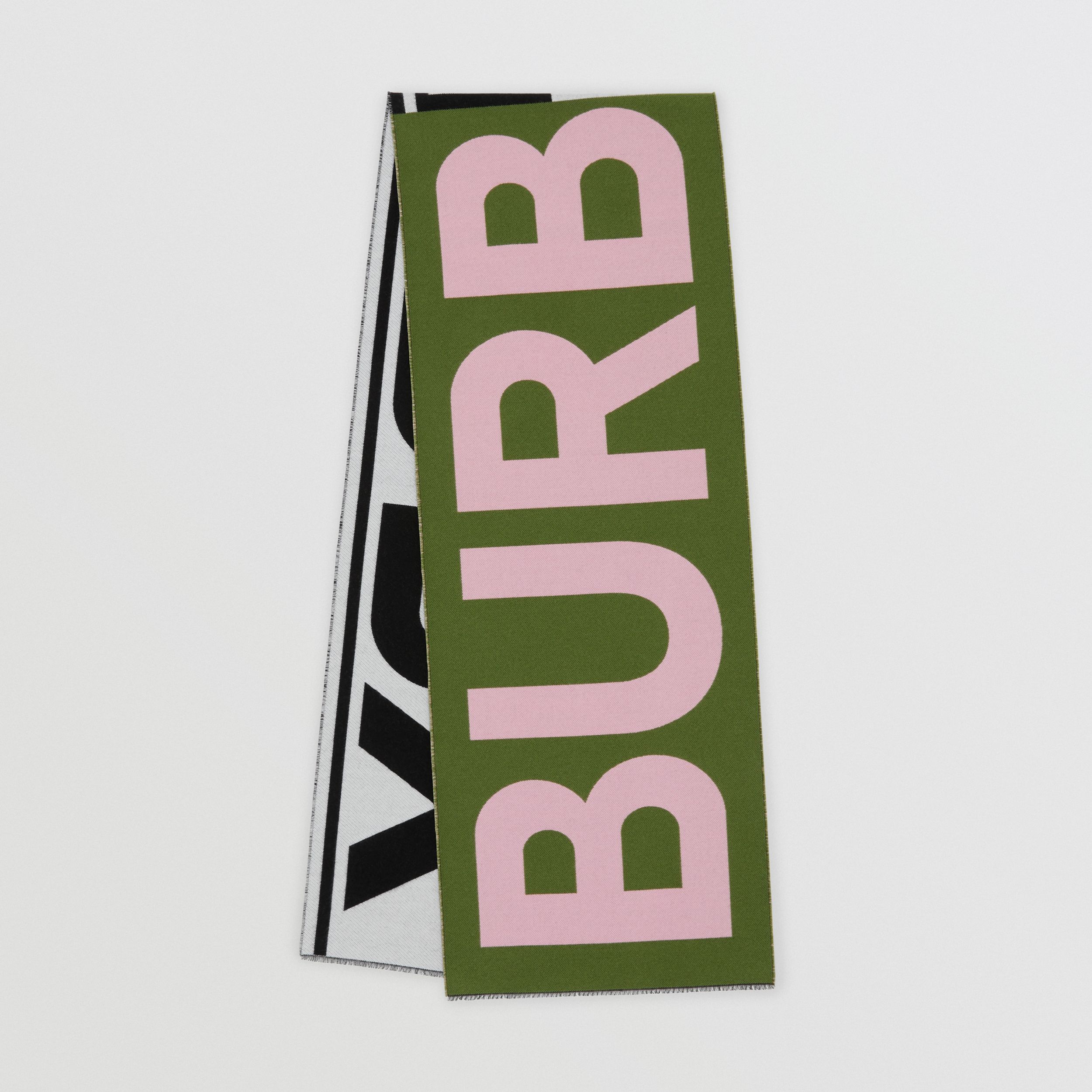 Logo Wool Silk Jacquard Scarf in Cedar Green | Burberry - 1