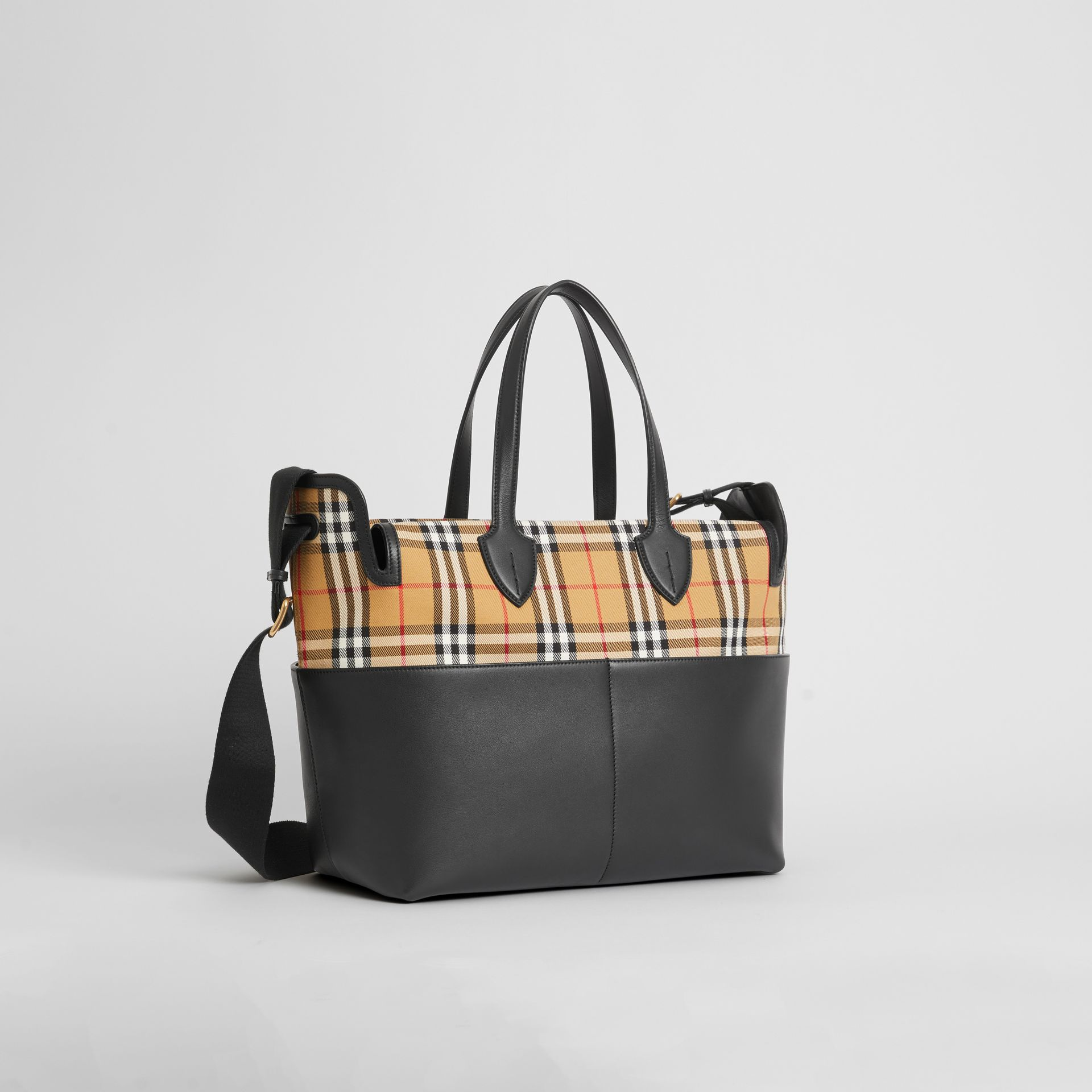 Vintage Check and Leather Baby Changing Tote in Black - Children | Burberry Singapore - gallery image 4