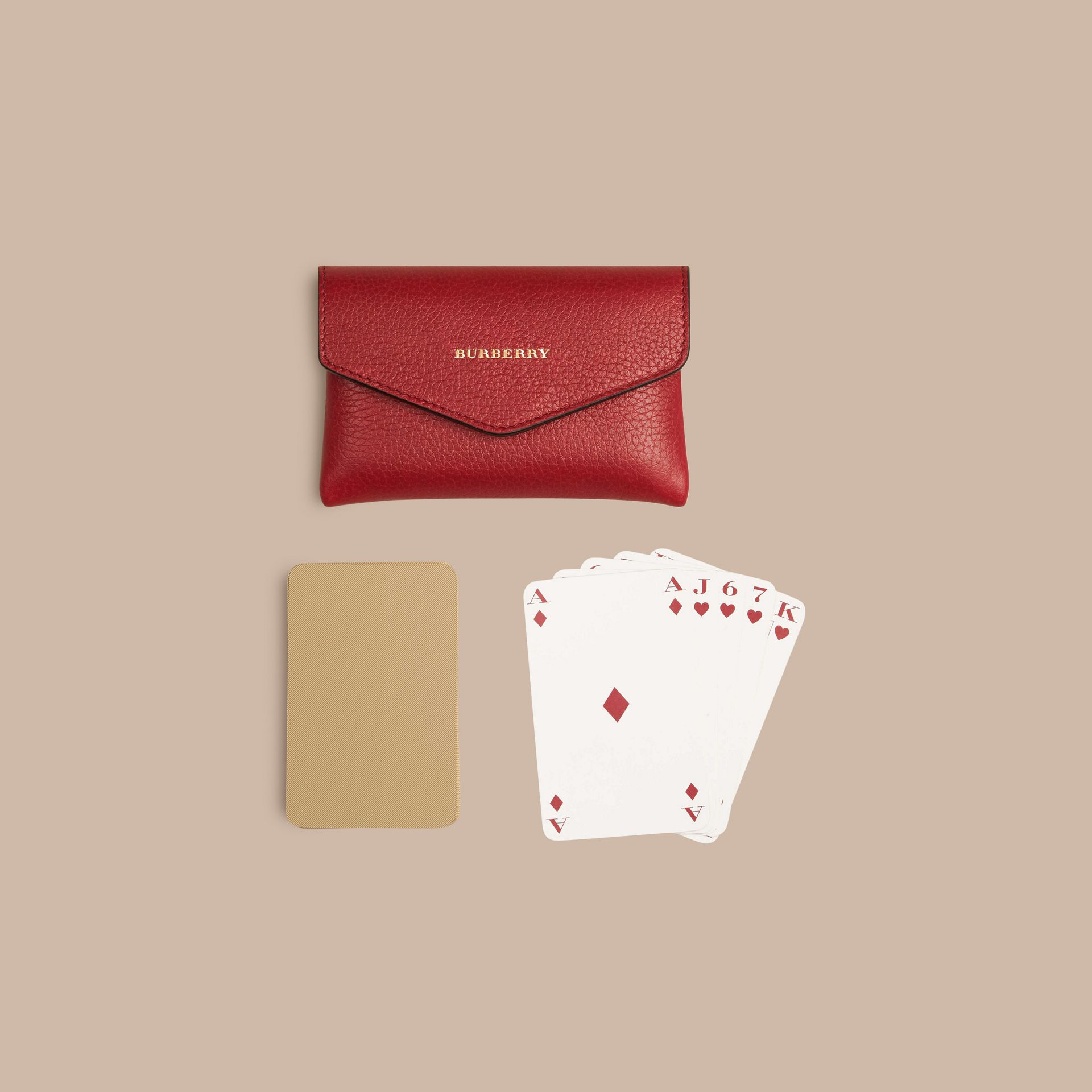 Grainy Leather Playing Card Case in Parade Red | Burberry - gallery image 5