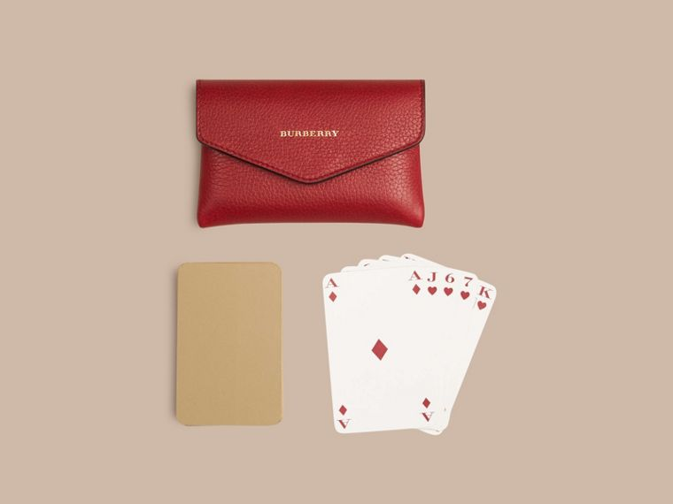 Grainy Leather Playing Card Case in Parade Red | Burberry - cell image 4
