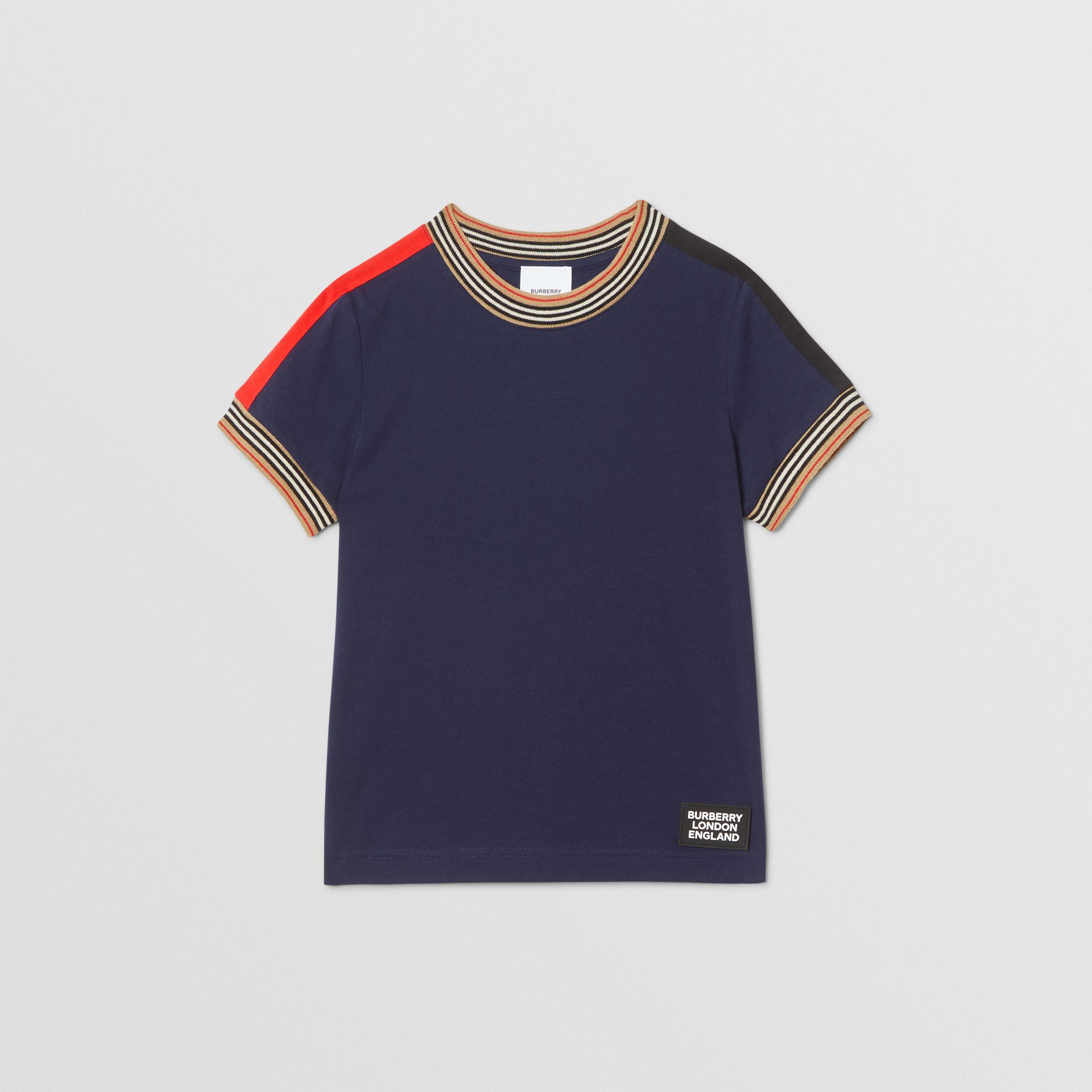 Icon Stripe Trim Cotton T-shirt in Navy | Burberry United Kingdom - gallery image 0