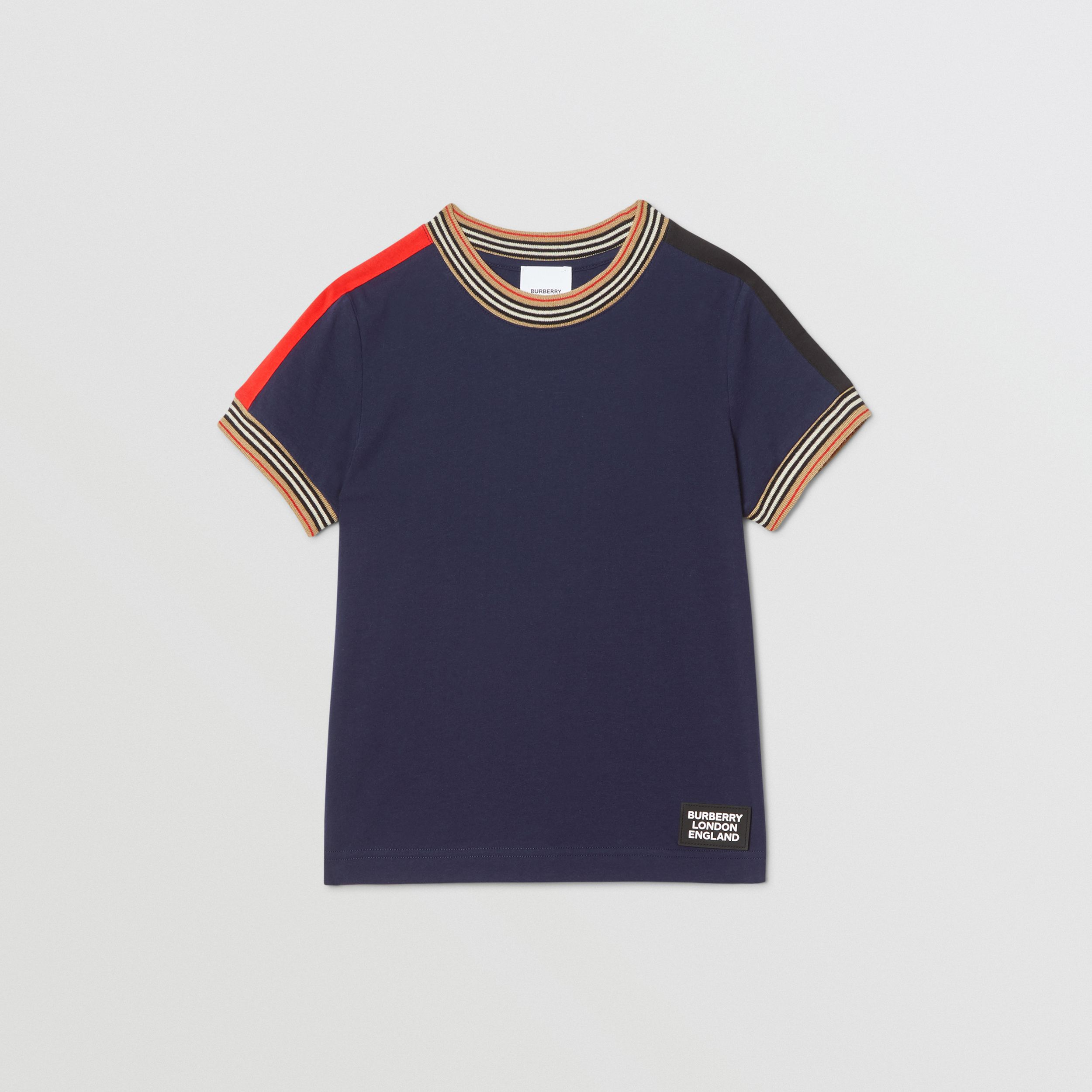 Icon Stripe Trim Cotton T-shirt in Navy | Burberry United Kingdom - 1