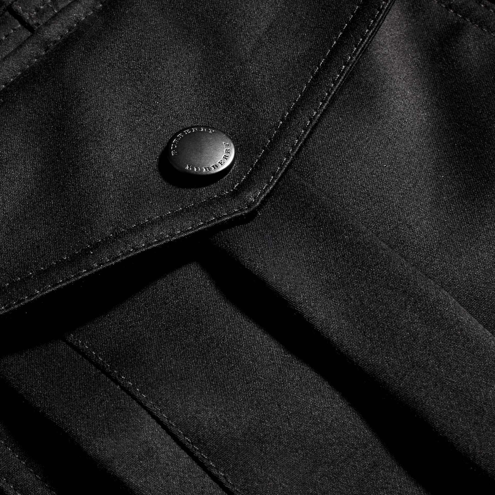 Black Bonded Cotton Field Jacket with Removable Warmer - gallery image 2