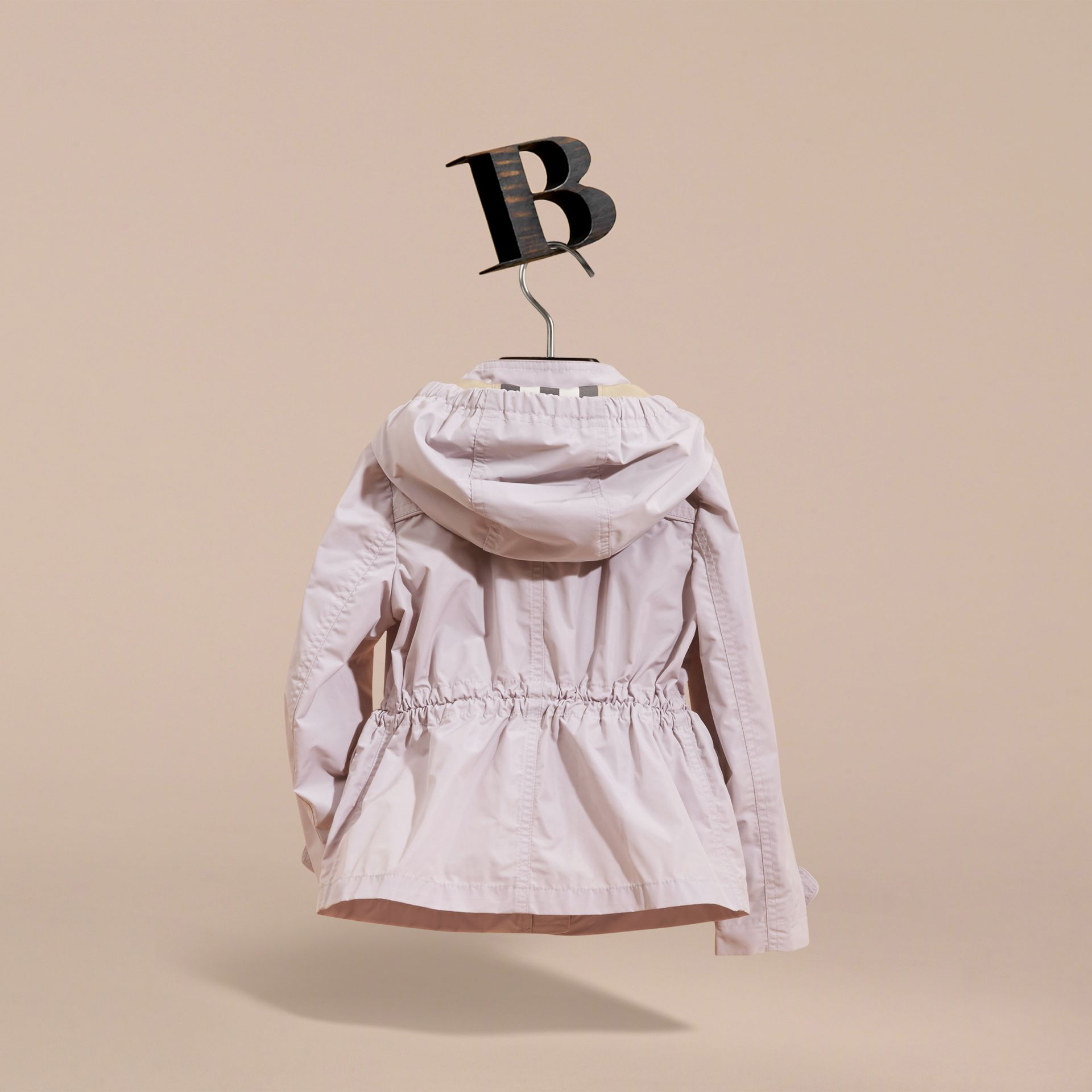 Hooded Packaway Technical Jacket in Stone White - Girl | Burberry Canada - gallery image 4