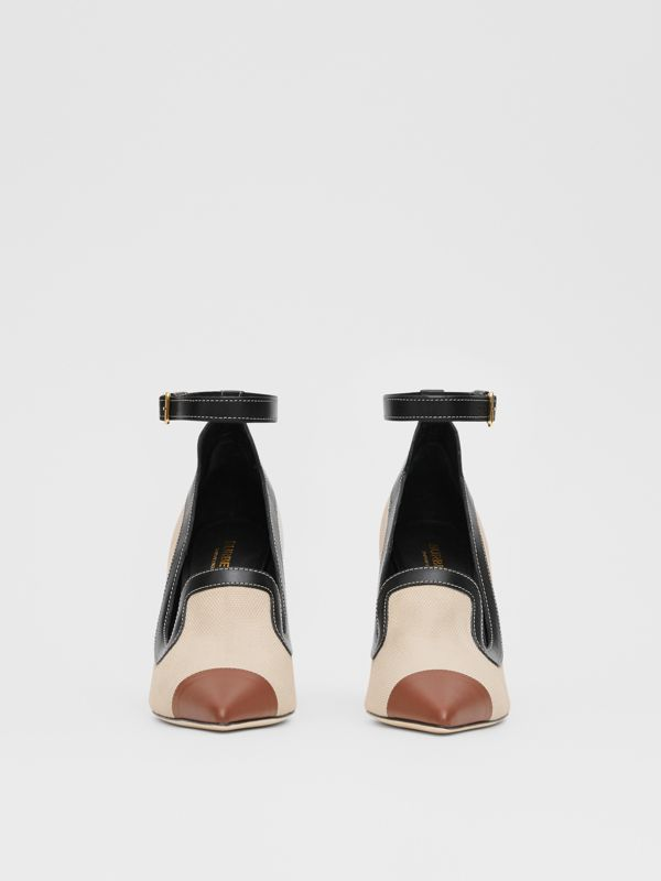 Cotton Canvas and Leather Point-toe Pumps in Natural/black - Women | Burberry Singapore - cell image 3