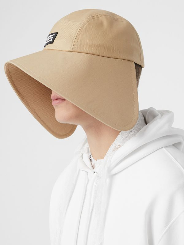 Logo Appliqué Cotton Twill Bonnet Cap in Soft Fawn | Burberry United Kingdom - cell image 3