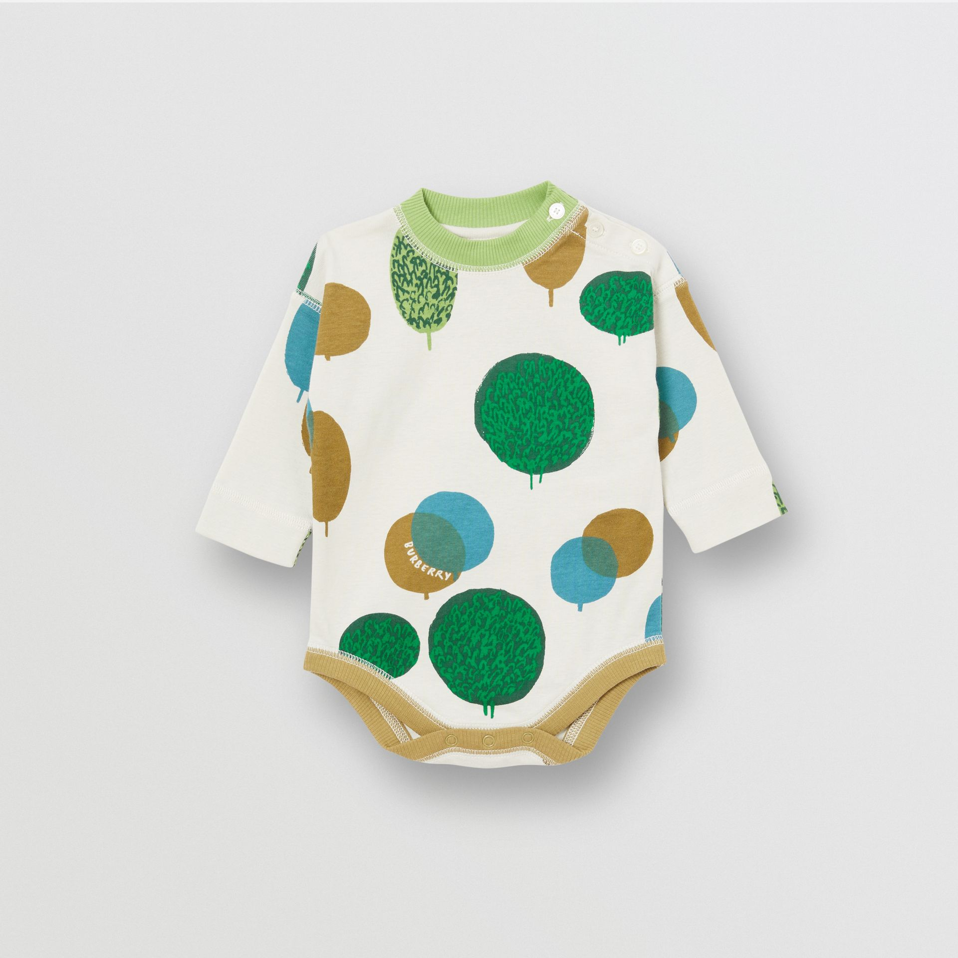 Tree and Sun Print Cotton Three-piece Baby Gift Set in Stone - Children | Burberry - gallery image 3