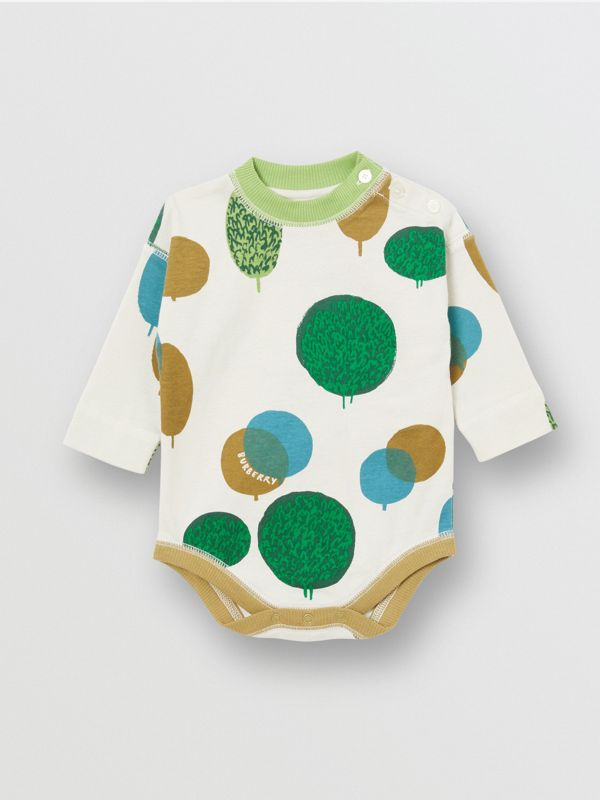 Tree and Sun Print Cotton Three-piece Baby Gift Set in Stone - Children | Burberry United Kingdom - cell image 3
