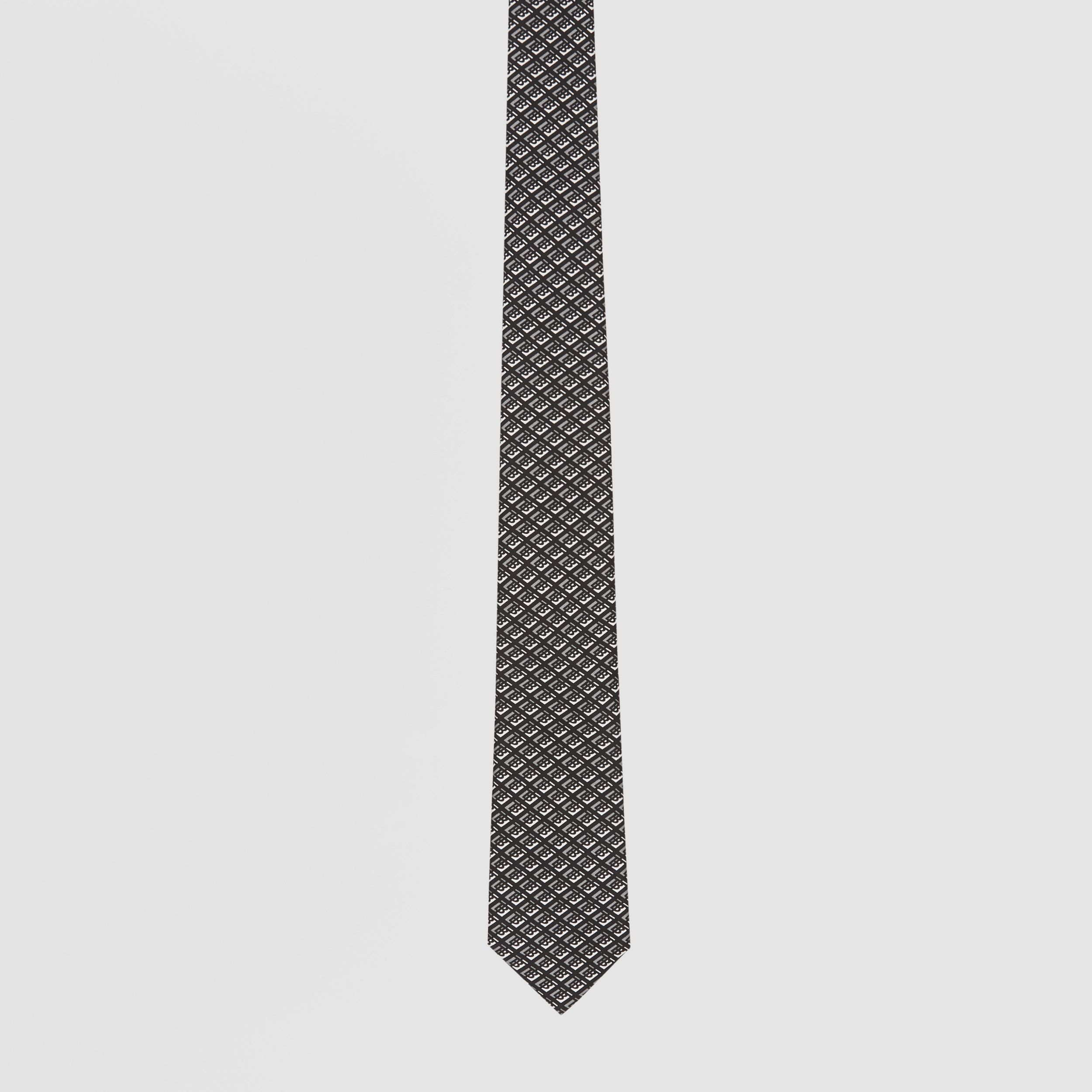 Classic Cut Logo Graphic Silk Tie in Mid Grey - Men | Burberry - 4
