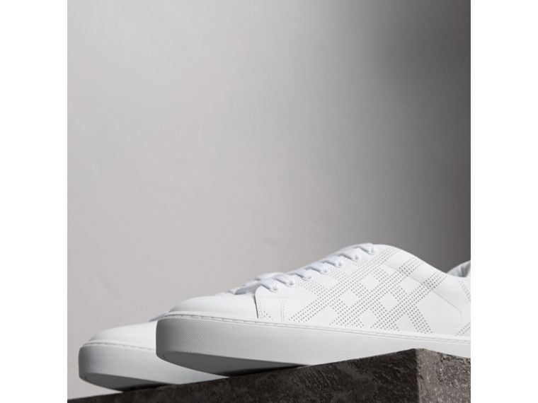 Perforated Check Leather Trainers in Optic White - cell image 4