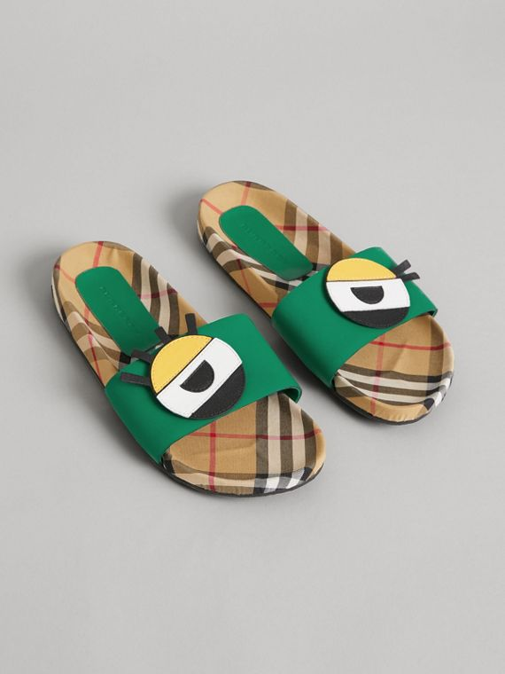 Eye Appliqué Vintage Check and Leather Slides in Bright Pigment Green