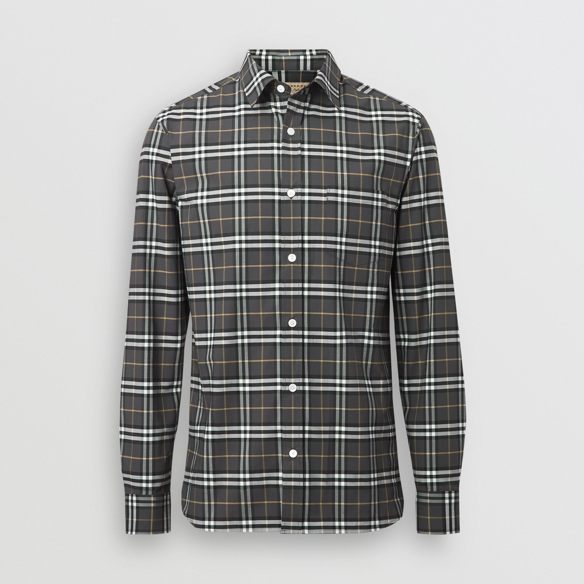 Check Stretch Cotton Shirt in Dark Grey - Men | Burberry United Kingdom - gallery image 3