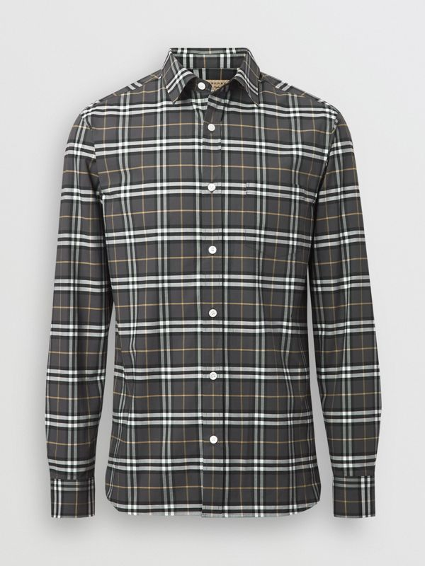 Check Stretch Cotton Shirt in Dark Grey - Men | Burberry Australia - cell image 3