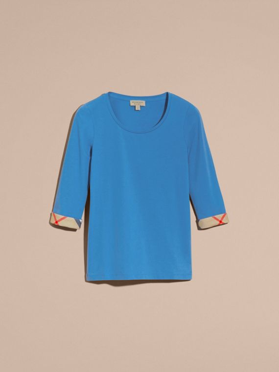 Three-quarter Sleeved Stretch Cotton T-shirt with Check Trim Bright Hydrangea Blue - cell image 3
