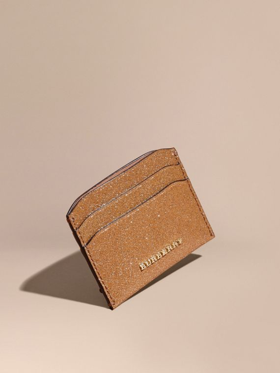 London Leather Glitter Card Case Camel / Gold