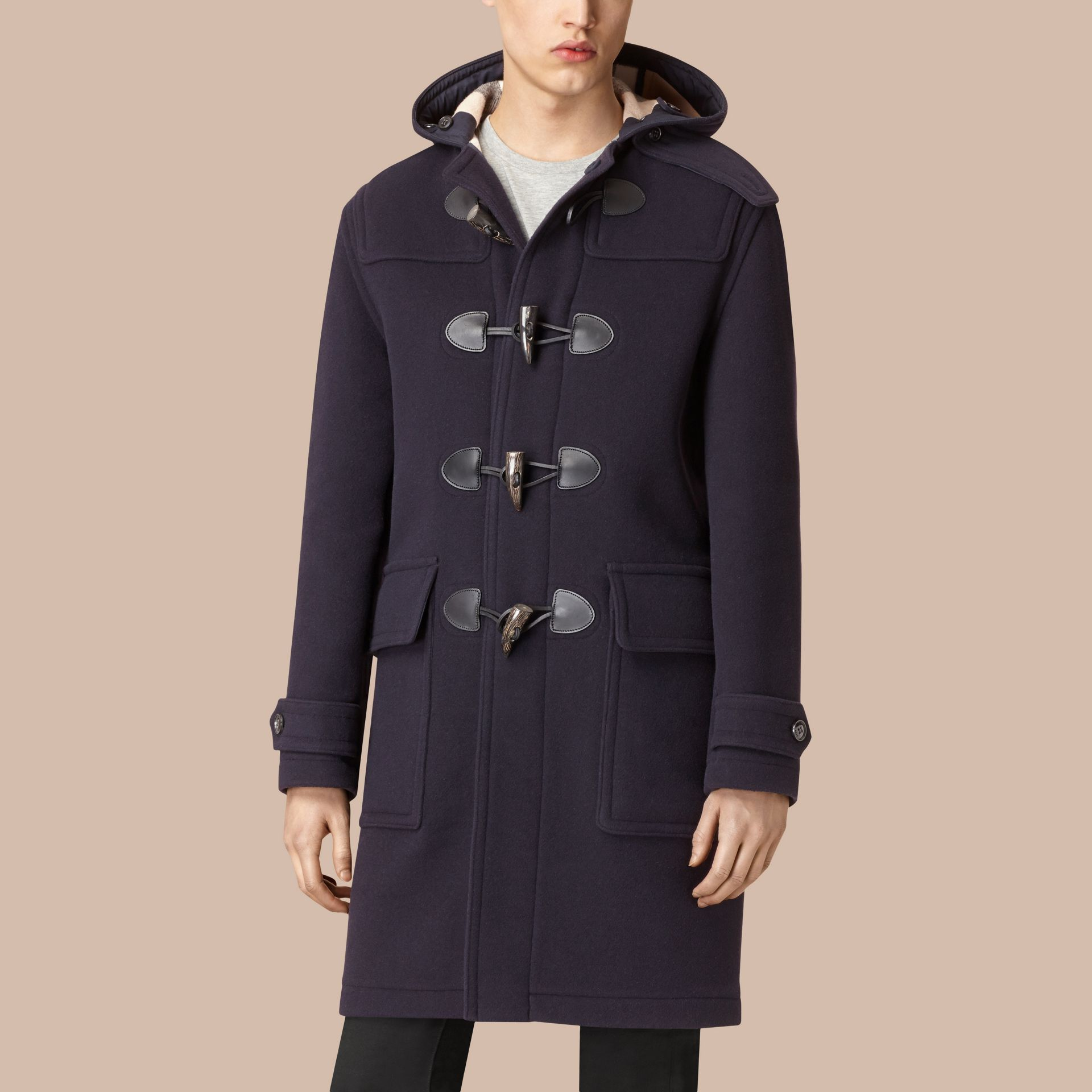 Navy Wool-Blend Duffle Coat Navy - gallery image 4