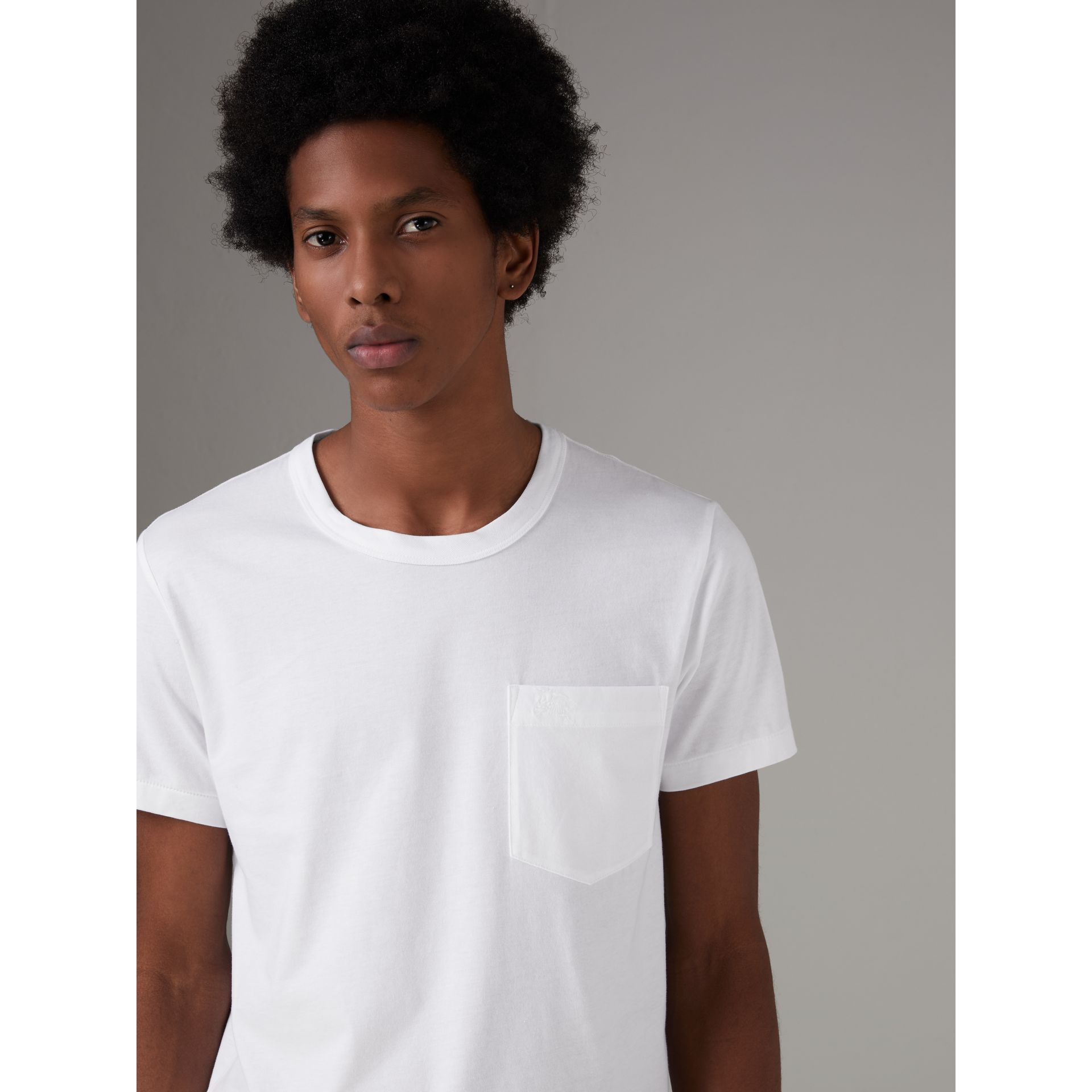 Pocket Detail Cotton Jersey T-shirt in White - Men | Burberry Canada - gallery image 0