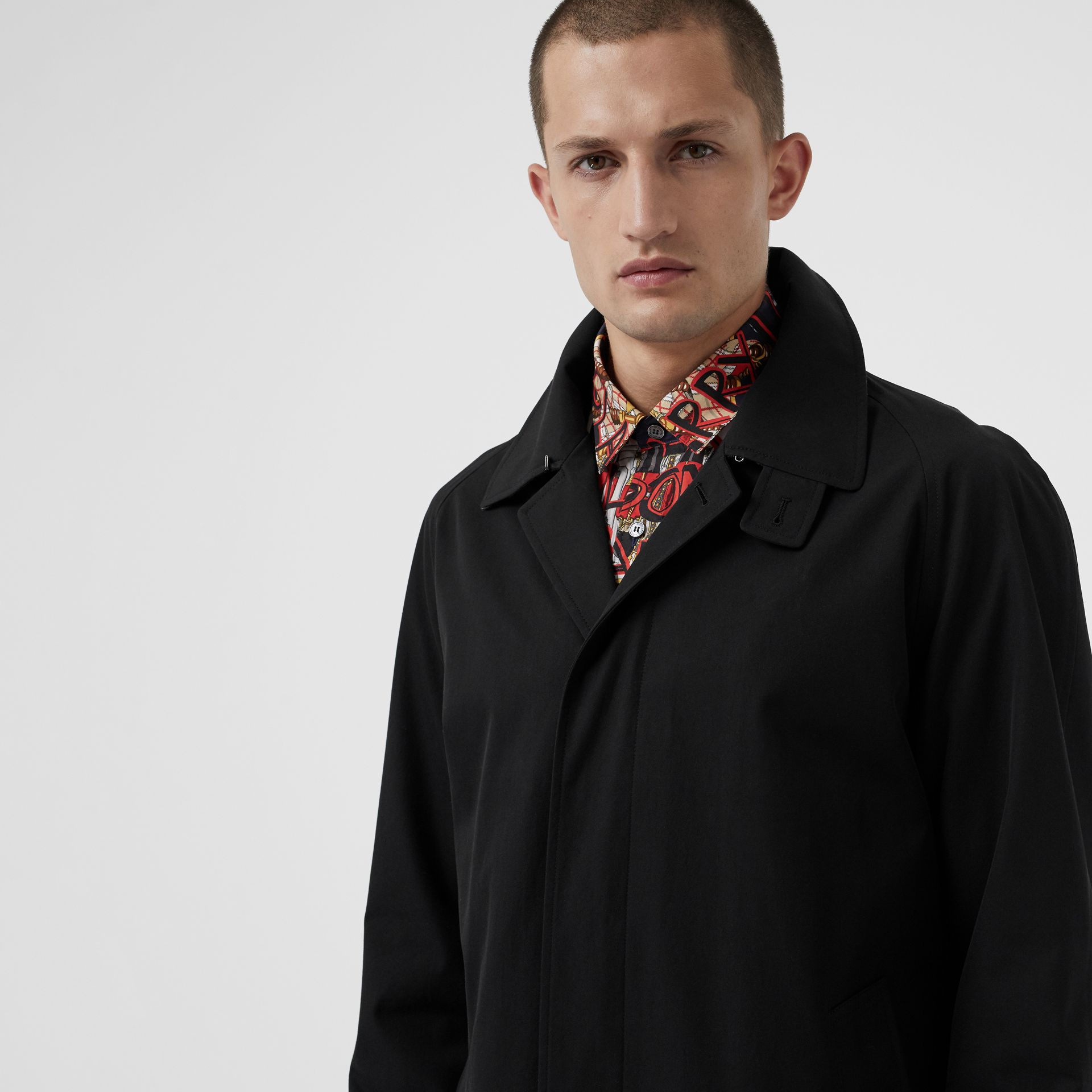 Archive Logo-lined Tropical Gabardine Car Coat in Black - Men | Burberry - gallery image 1