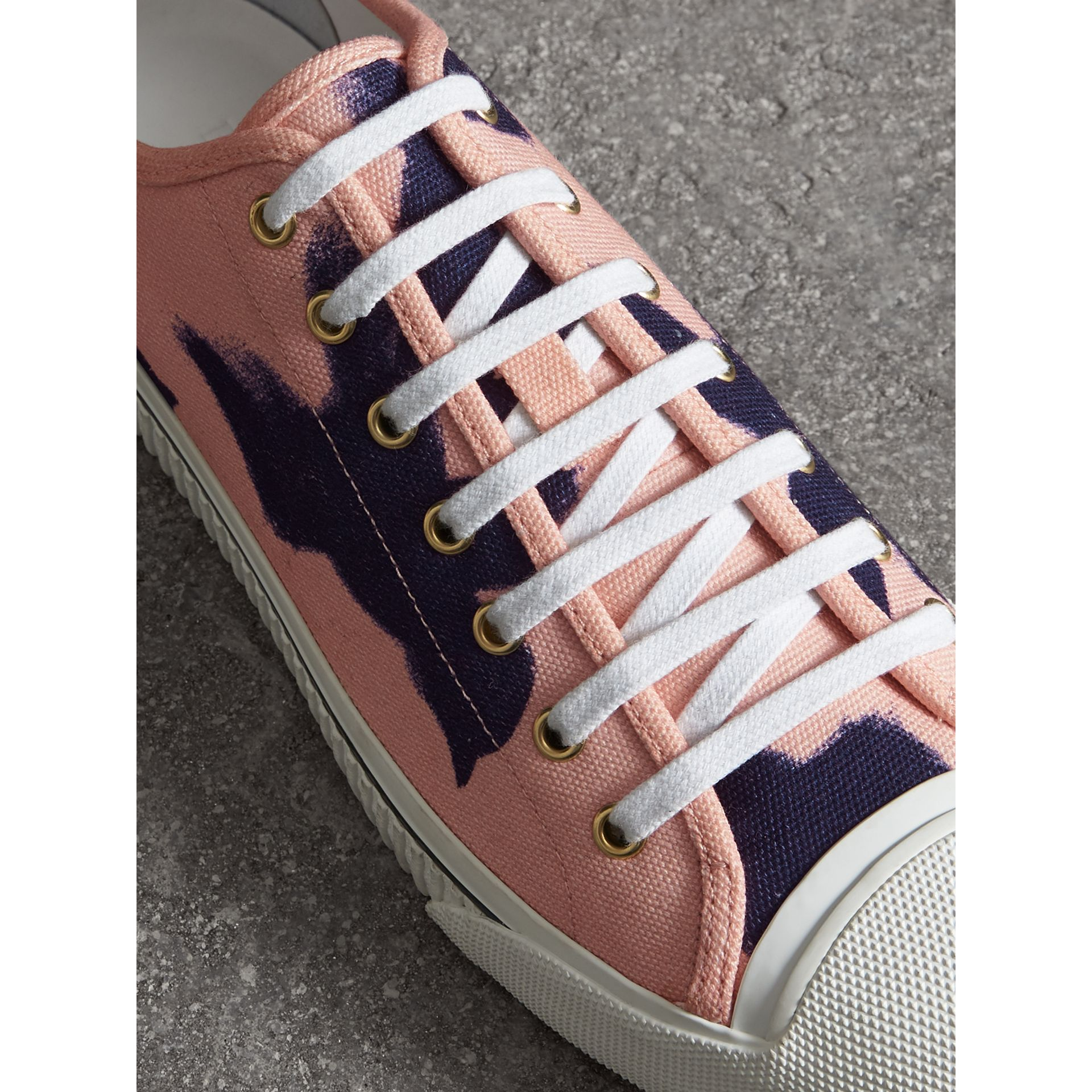 Bird Print Canvas Sneakers in Apricot Pink - Men | Burberry Hong Kong - gallery image 3