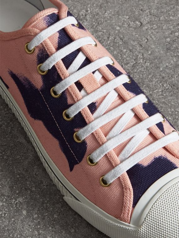 Bird Print Canvas Sneakers in Apricot Pink - Men | Burberry Hong Kong - cell image 3