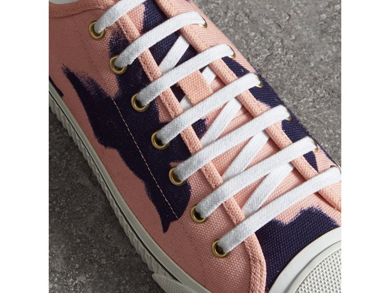 Bird Print Canvas Sneakers in Apricot Pink - Men | Burberry - cell image 4