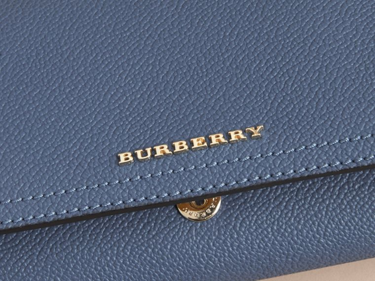 Two-tone Leather Continental Wallet and Coin Case in Steel Blue/multi - Women | Burberry United States - cell image 1