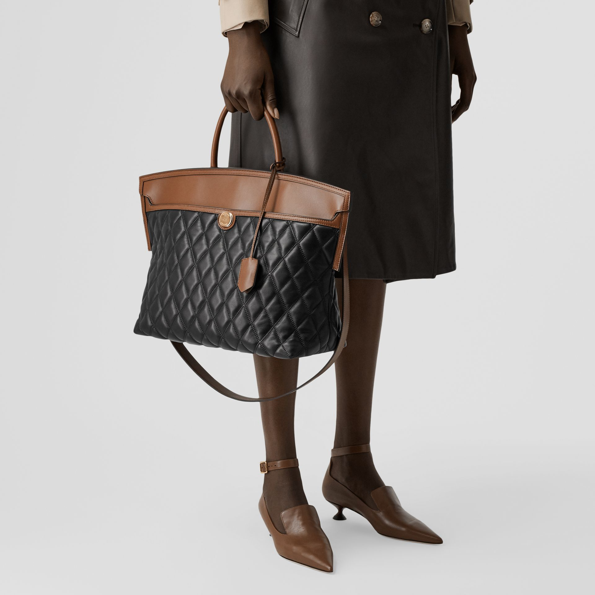 Quilted Lambskin Society Top Handle Bag in Black/brown - Women | Burberry United Kingdom - gallery image 8