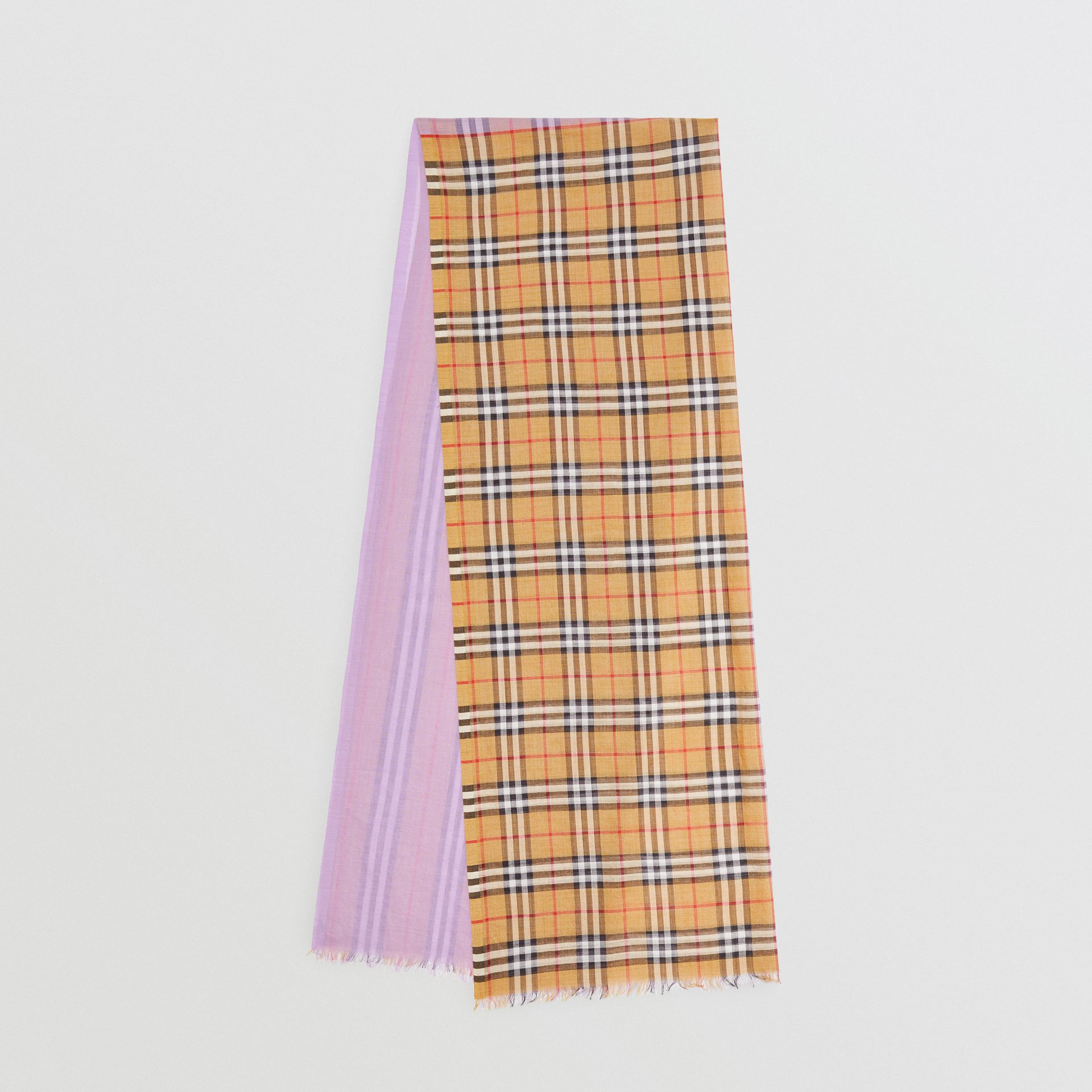 Vintage Check Colour Block Wool Silk Scarf in Lilac | Burberry - gallery image 0