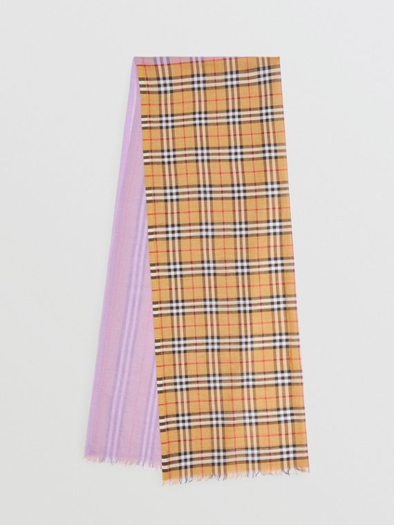 Vintage Check Colour Block Wool Silk Scarf in Lilac