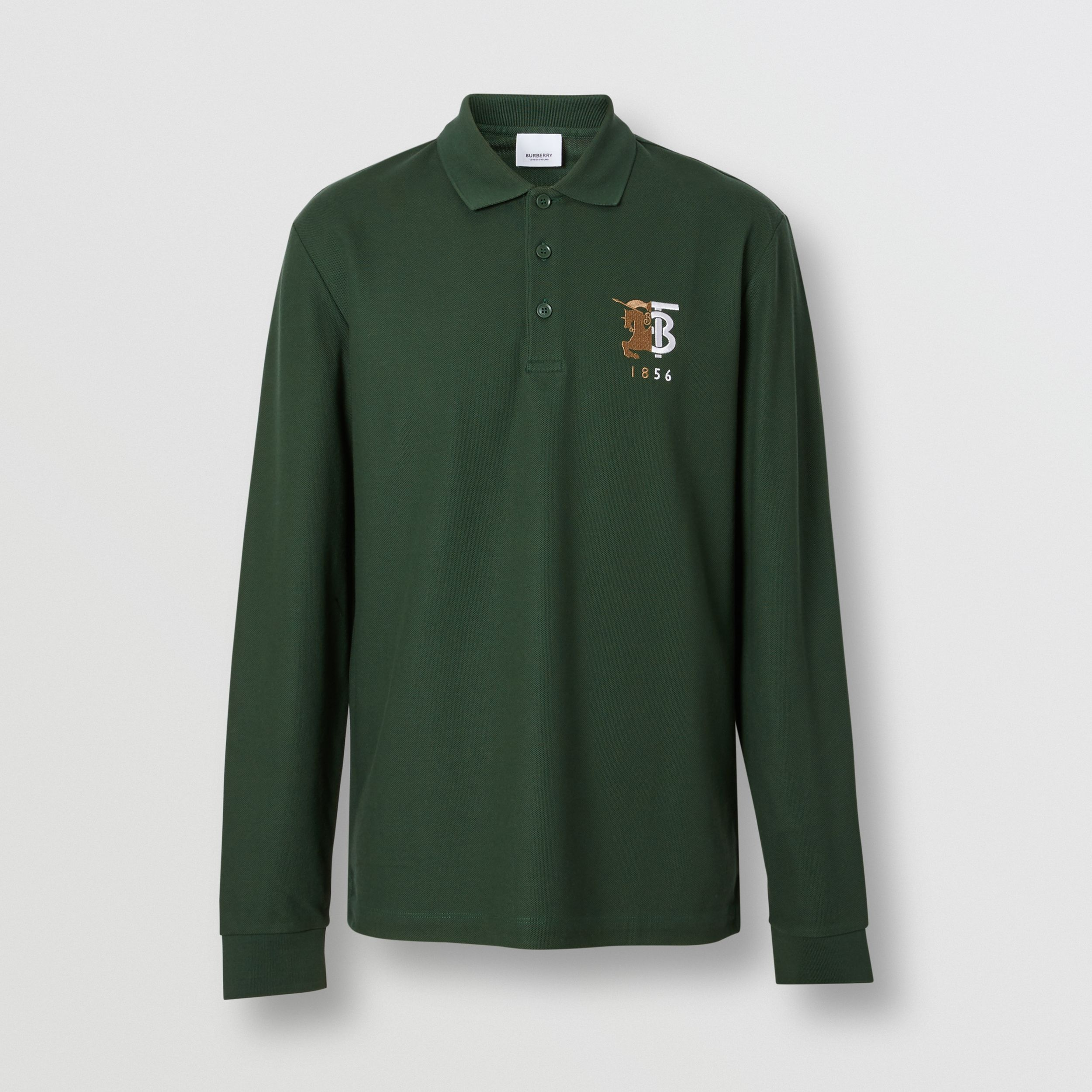 Long-sleeve Contrast Logo Graphic Cotton Polo Shirt in Dark Pine Green - Men | Burberry - 4