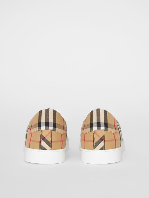 Vintage Check and Leather Sneakers in Antique Yellow - Men | Burberry - cell image 3