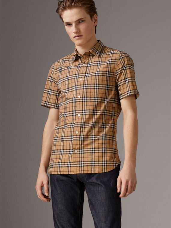 Short-sleeve Check Cotton Shirt in Camel