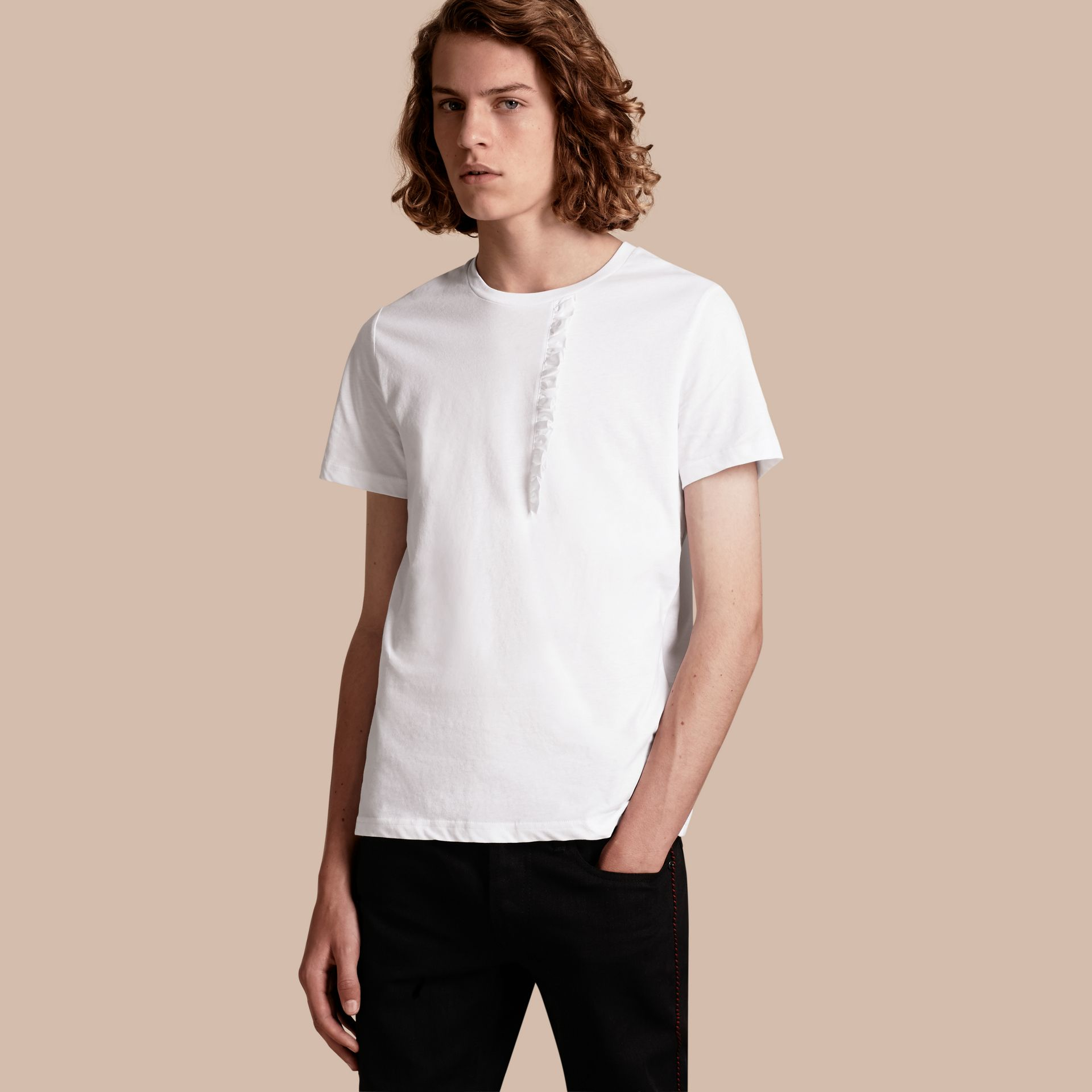 White Ruffle Detail Cotton T-shirt White - gallery image 1