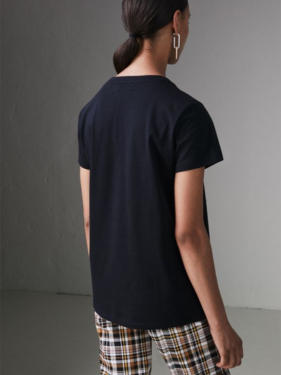 Embroidered Archive Logo Cotton T-shirt in Navy - Women | Burberry Australia - cell image 2