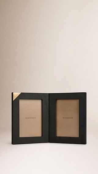 Grainy Leather Double Picture Frame