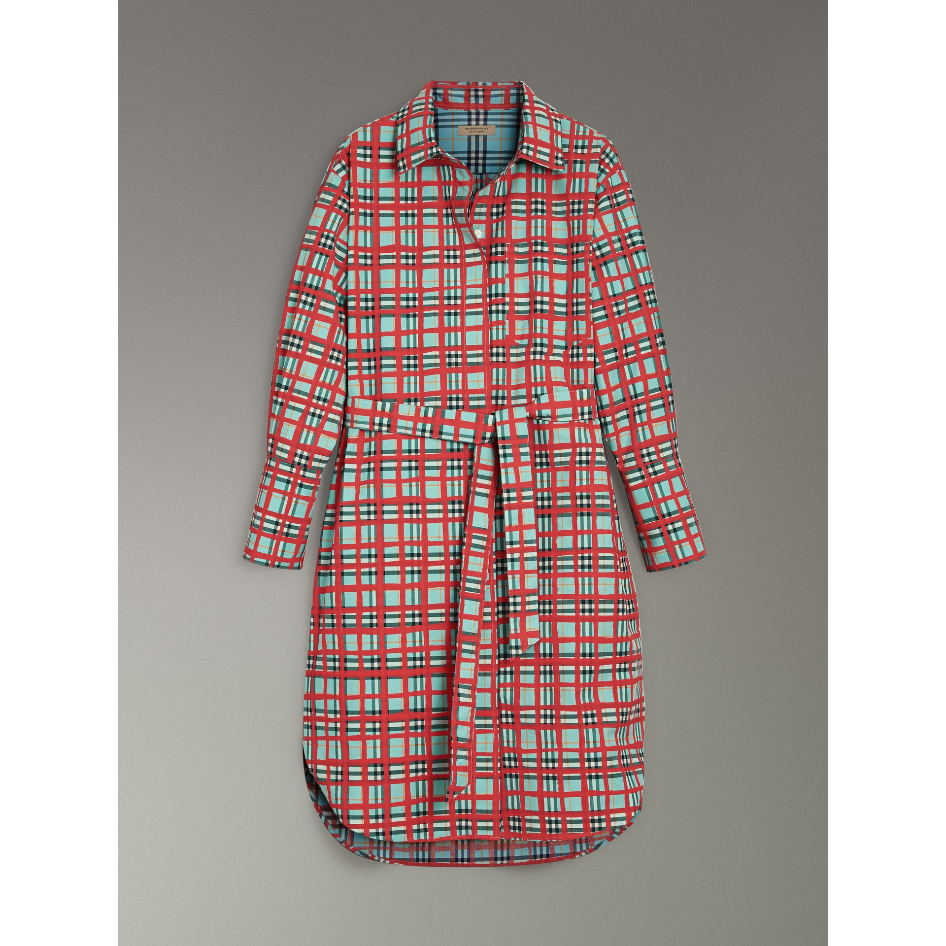 Painted Check Cotton Tie-waist Shirt Dress in Bright Aqua - Women | Burberry Singapore - gallery image 3