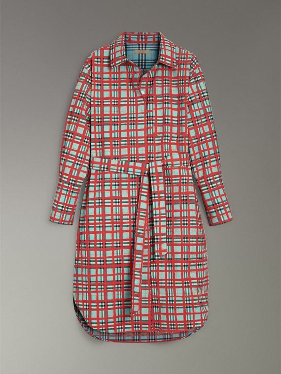 Painted Check Cotton Tie-waist Shirt Dress in Bright Aqua - Women | Burberry - cell image 3