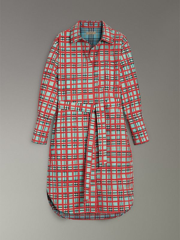 Painted Check Cotton Tie-waist Shirt Dress in Bright Aqua - Women | Burberry Canada - cell image 3