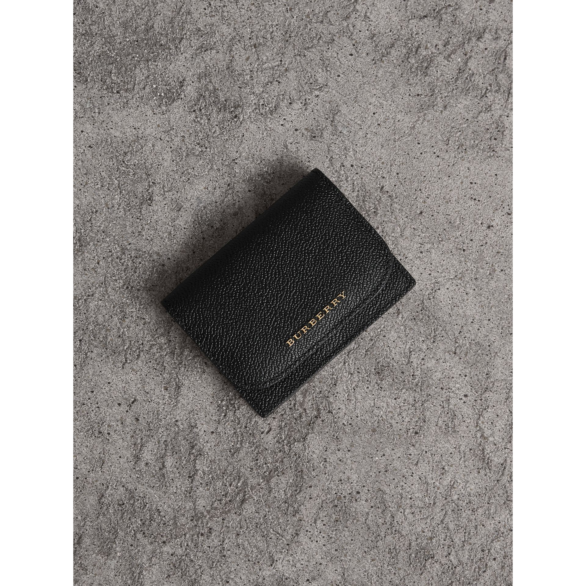 Grainy Leather Card Case in Black - Women | Burberry Singapore - gallery image 0