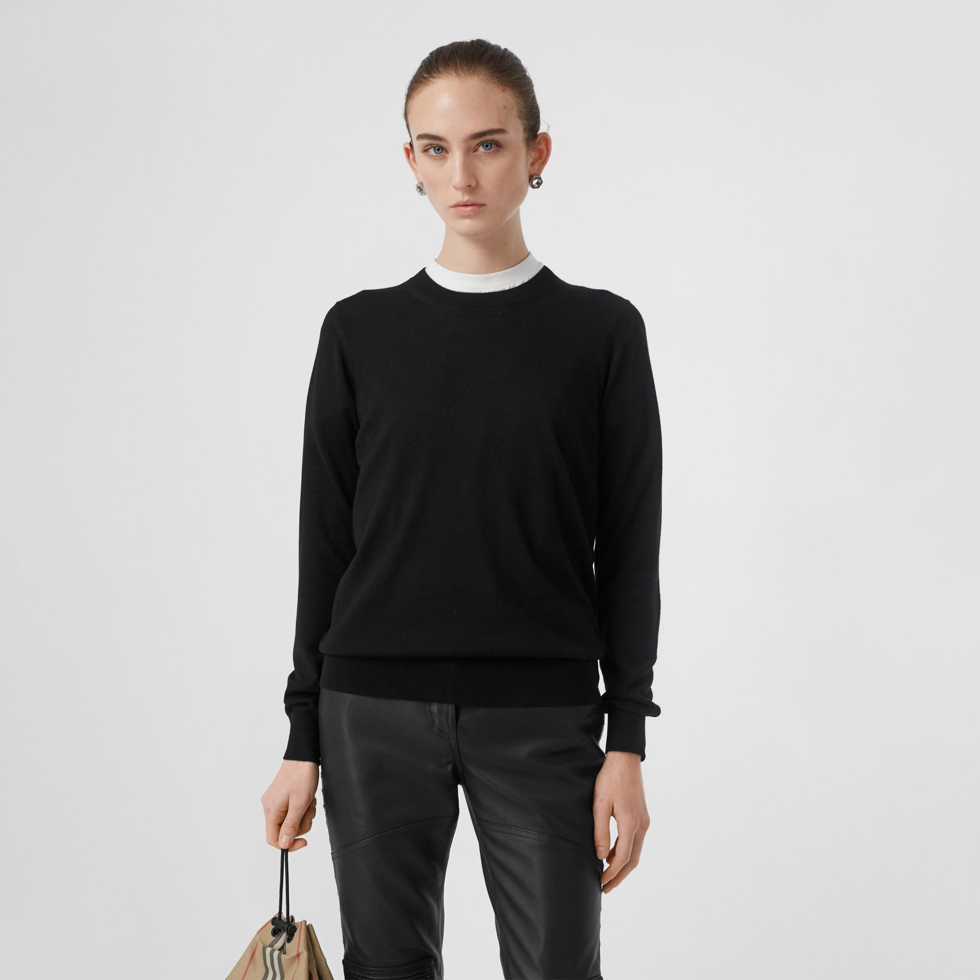 Vintage Check Detail Merino Wool Sweater in Black - Women | Burberry Singapore - gallery image 2