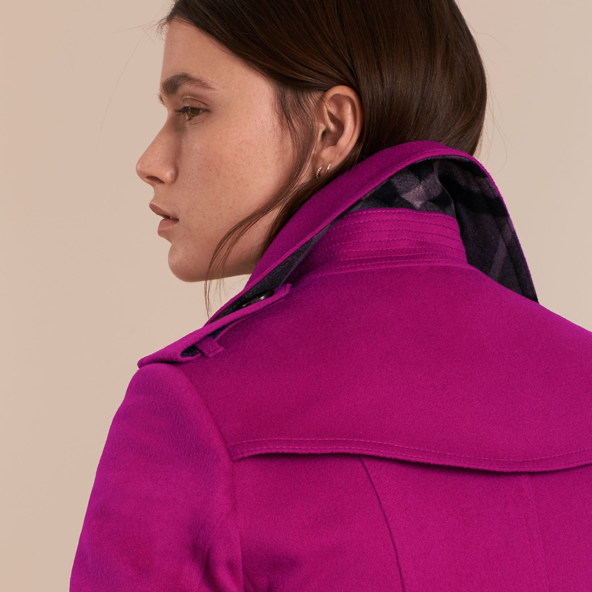 Sandringham Fit Cashmere Trench Coat Fuchsia - gallery image 5