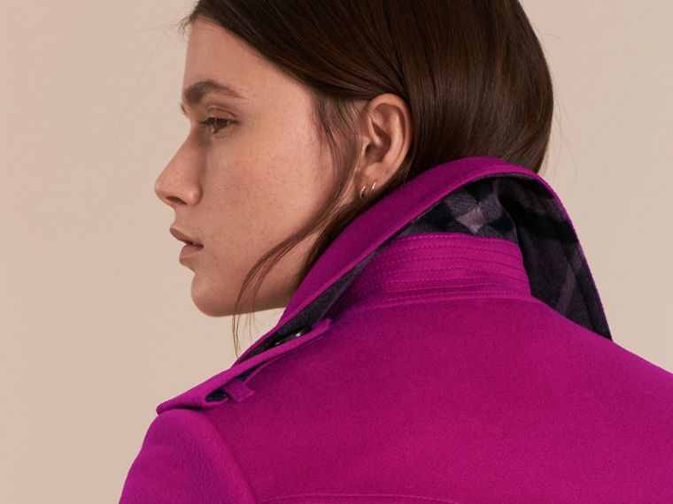 Sandringham Fit Cashmere Trench Coat Fuchsia - cell image 4