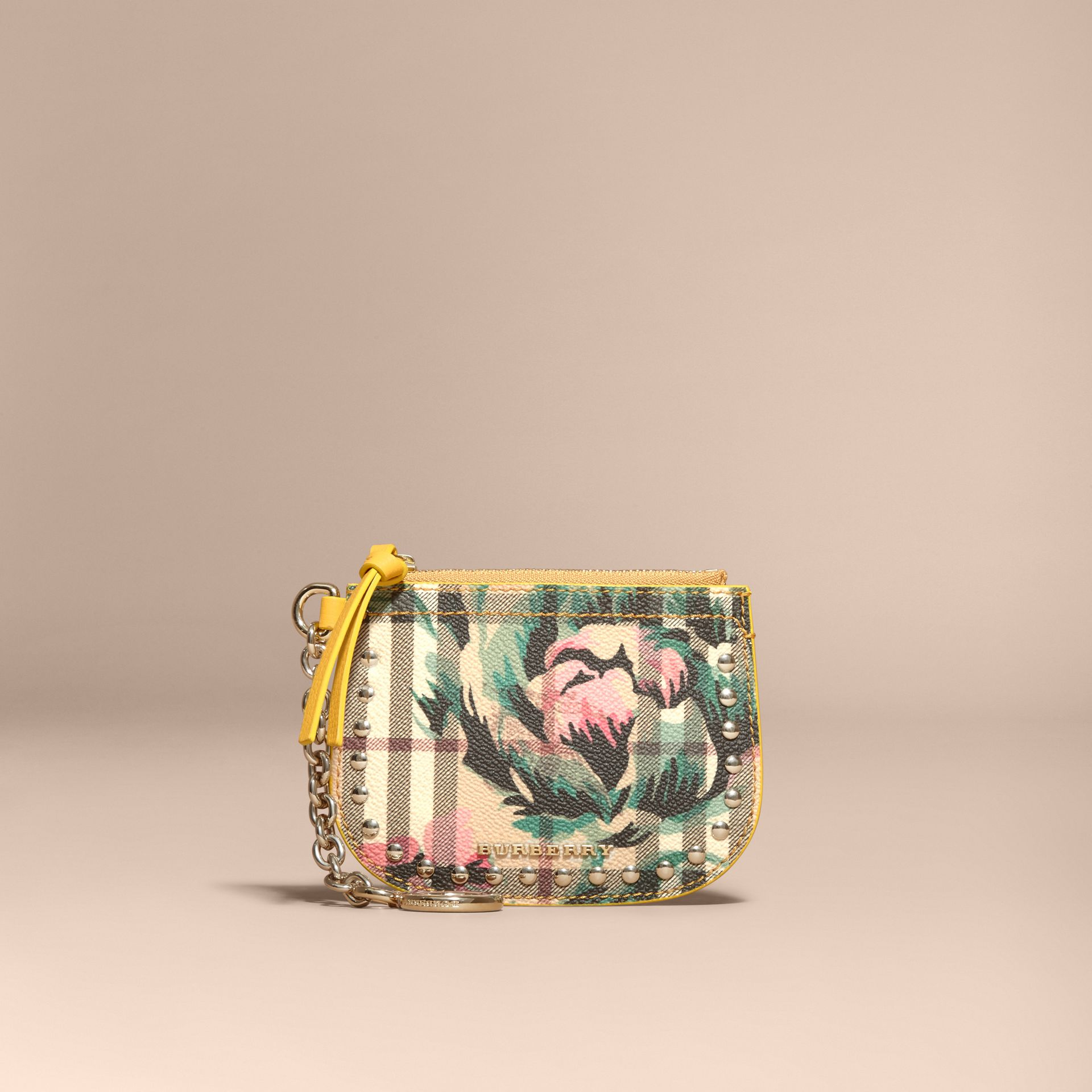 Larch yellow Peony Rose Print Haymarket Check Coin Case - gallery image 6