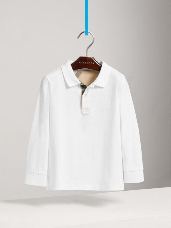 Long-sleeve Cotton Jersey Polo Shirt in White - Boy | Burberry Australia - cell image 2