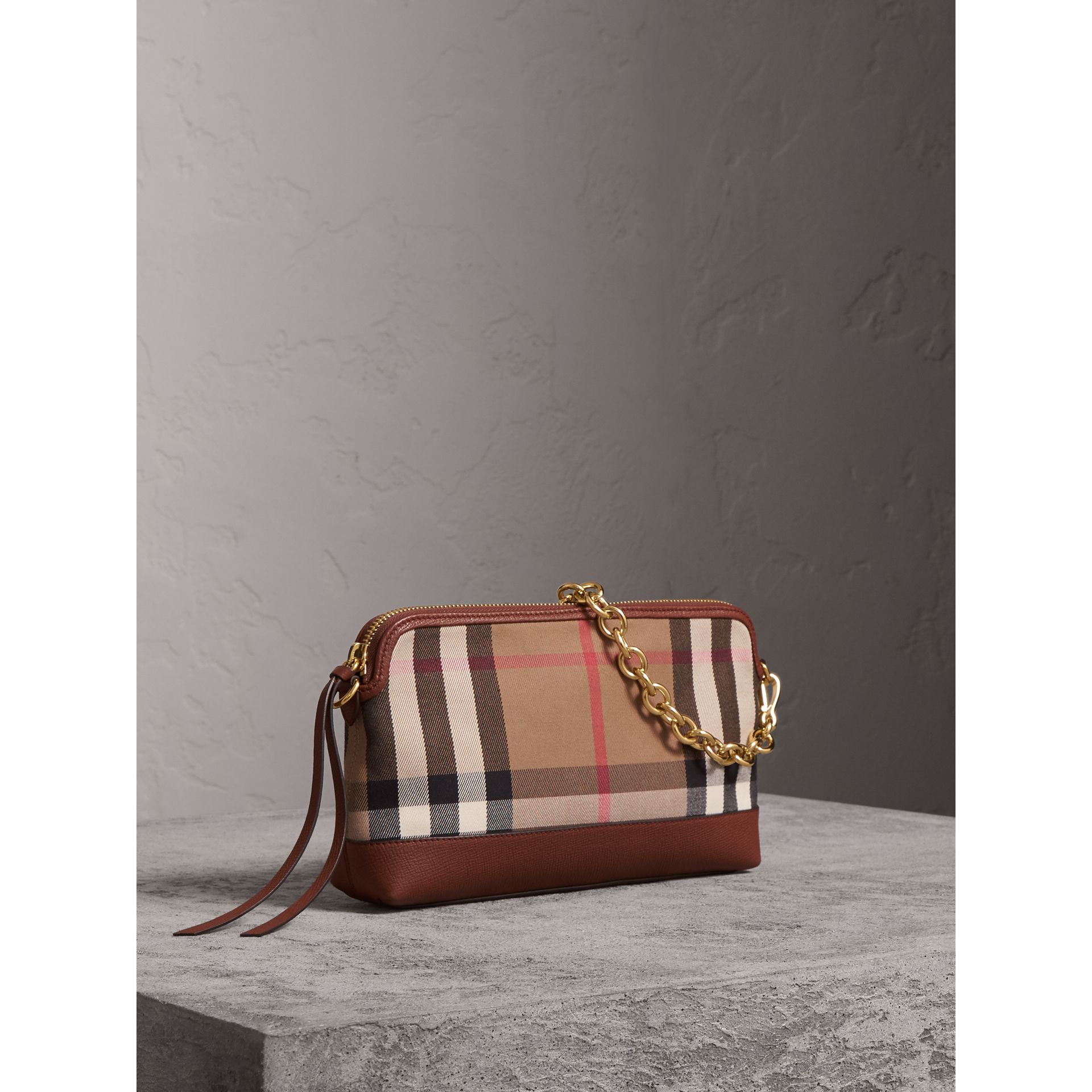 House Check and Leather Clutch Bag in Tan - Women | Burberry Canada - gallery image 8
