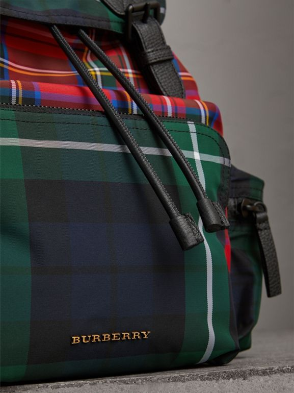 The Large Rucksack in Patchwork Tartan in Military Red | Burberry - cell image 1