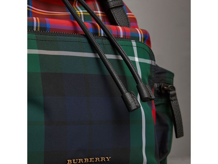 The Large Rucksack in Patchwork Tartan in Military Red | Burberry Singapore - cell image 1