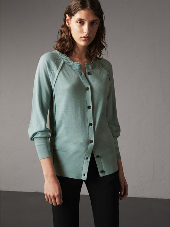 Open-knit Detail Cashmere Cardigan in Eucalyptus Green - Women | Burberry Canada