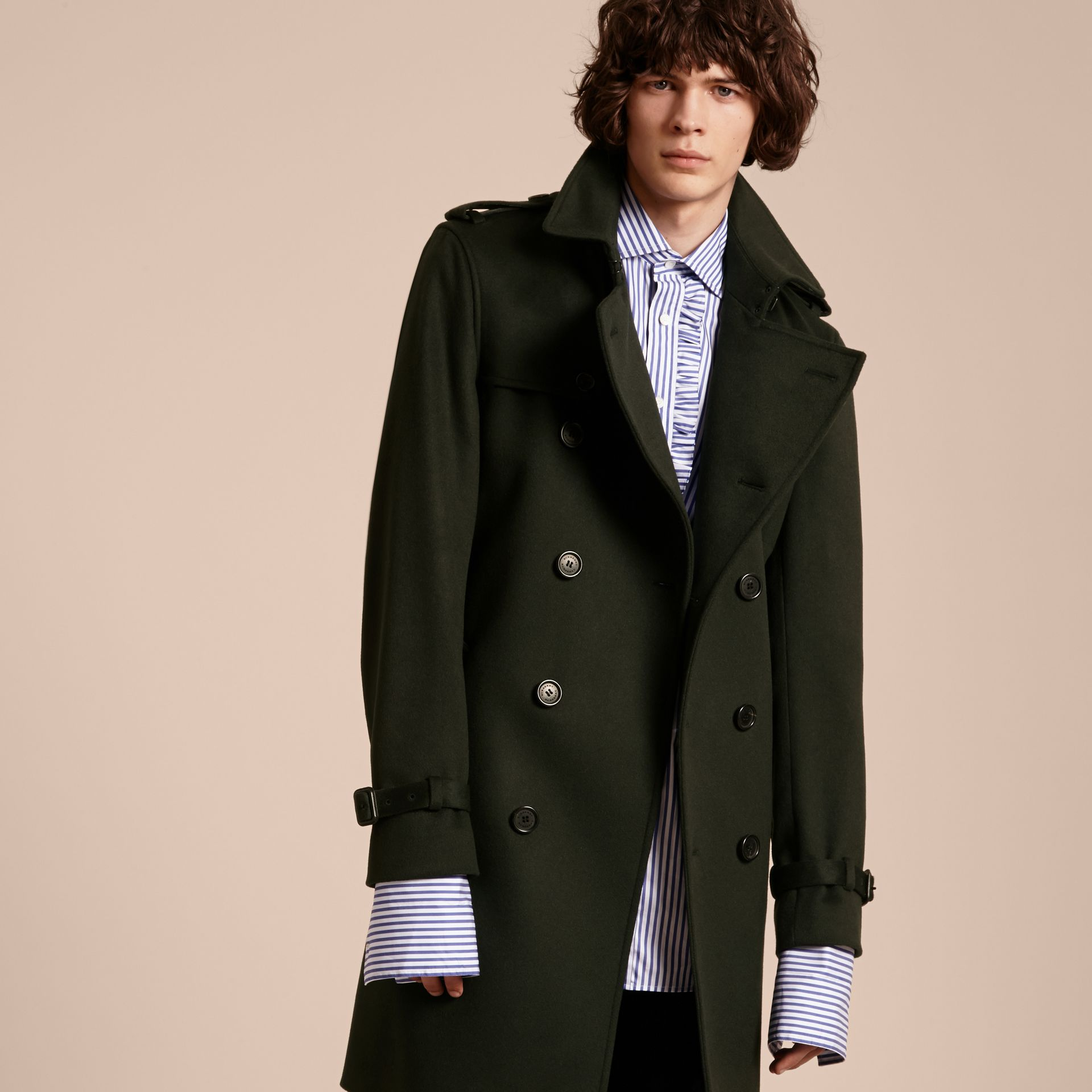 Cashmere Trench Coat in Dark Military Green - gallery image 6